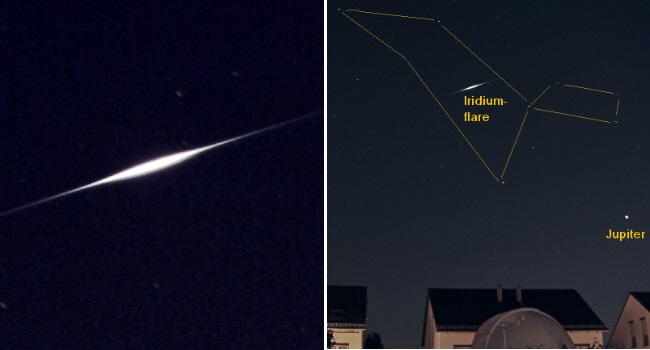 Iridium-Flare über der Sternwarte