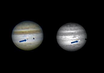 Jupiter mit Io im IR abgebildet