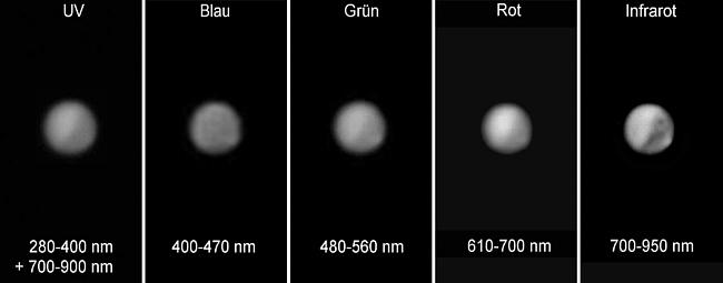 Mars in verschiedenen Wellenlängen