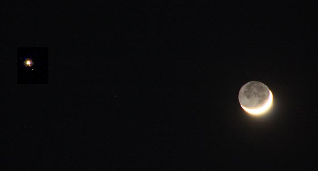Mond und Jupiter dicht beieinander