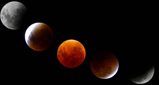 Ablauf der Mondfinsternis 2015 zusammengestellt