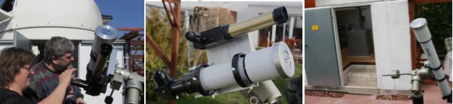 Coronado PST und 90 mm Refraktor auf der Außensäule