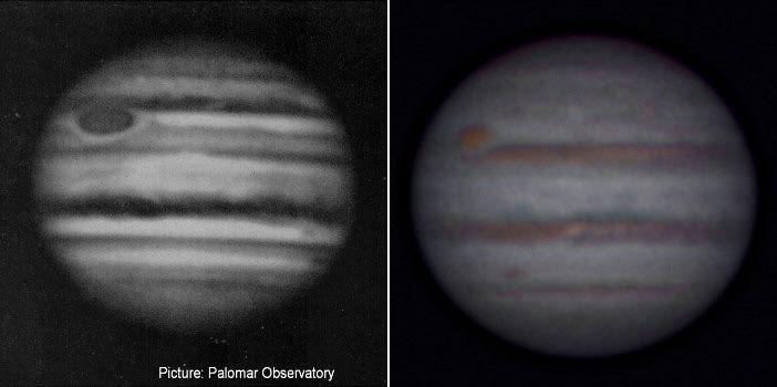 Vergleich: Jupiter gestern und heute