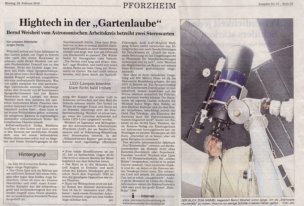 Pforzheimer Kurier berichtet über Sternwarte