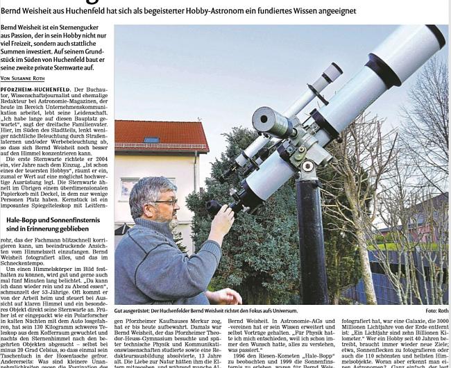 Mühlacker Tagblatt berichtet über Sternwarte Huchenfeld