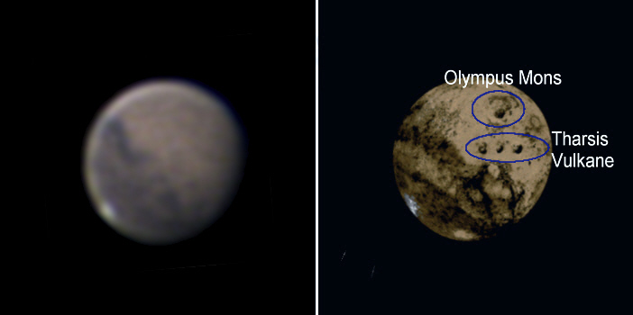 Vulkan Olympus Mons auf Mars abgebildet